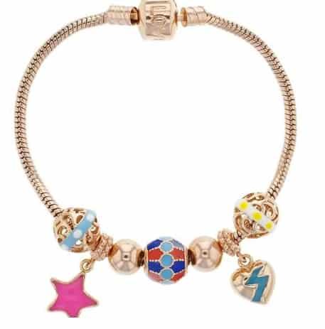 Rose gold tone cord charm bracelet