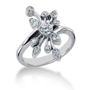 14 K Flower Petal Marquise round brilliant diamond