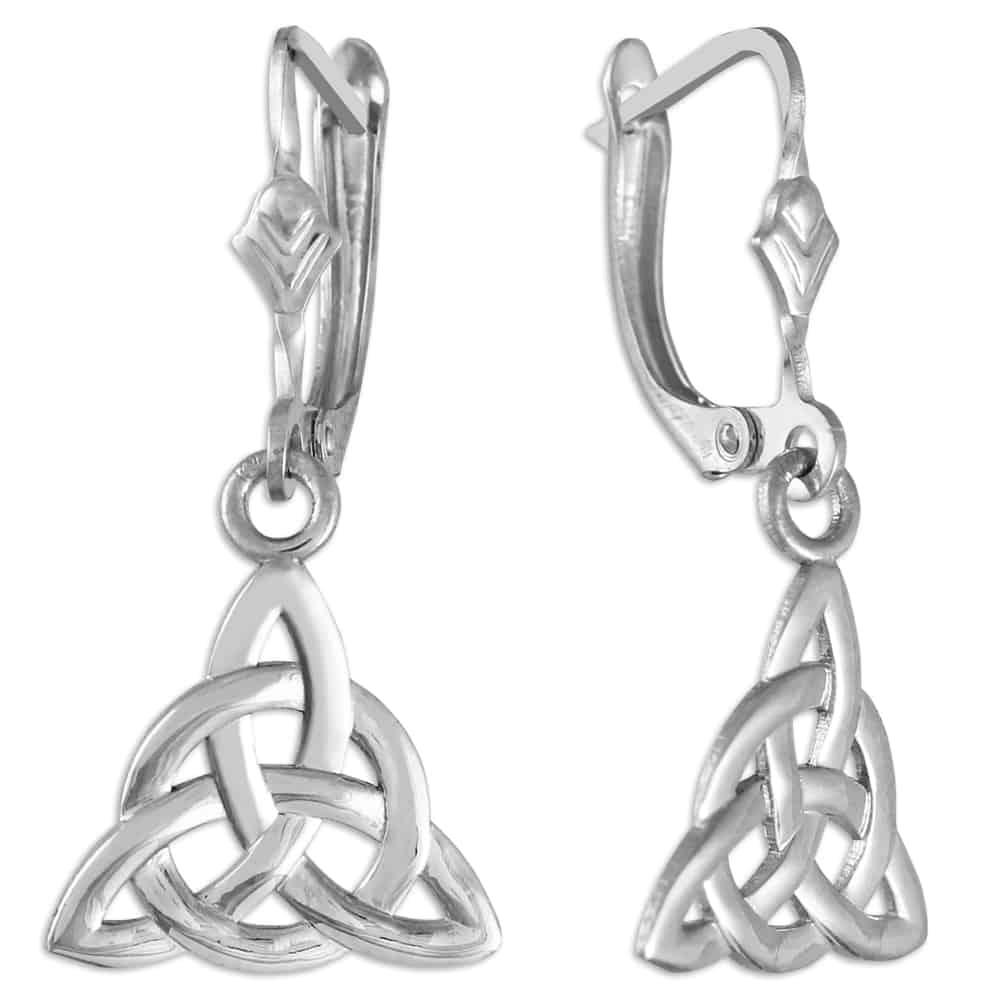 White Gold Celtic Trinity Earrings