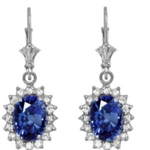 Diamond and September birthstone sapphire earrings