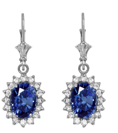 Diamond and September birthstone sapphire earrings